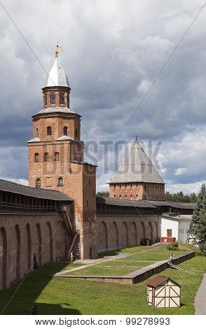 Towers Detintsa: Kokui and Intercession. Velikiy Novgorod. Russia.