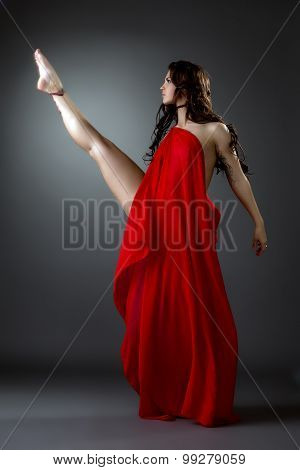 Artistic modern ballet dancer posing in studio