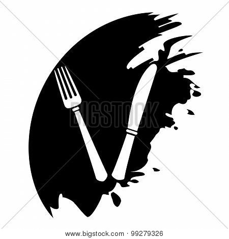 Fork And Knife - Vector Icon Isolated On White