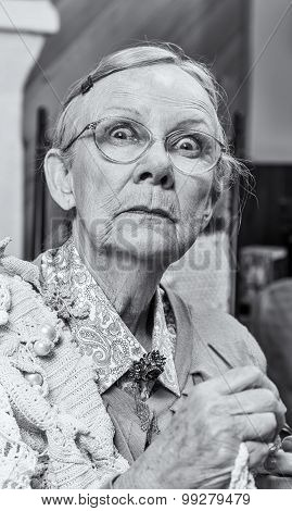Scared Woman With Crochet