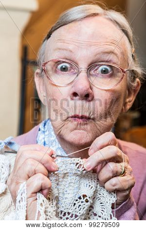 Funny Elderly Woman With Crochet