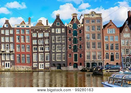 Traditional Old Buildings In Amsterdam, The Netherlands