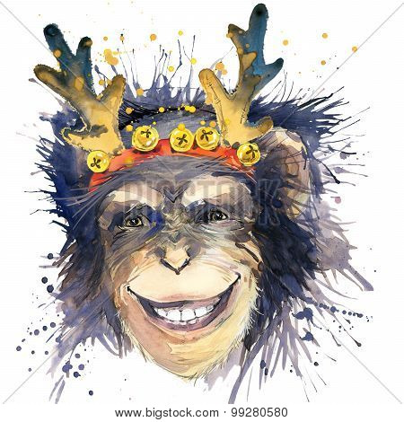 Monkey New Year T-shirt graphics. monkey year illustration with splash watercolor textured backgroun