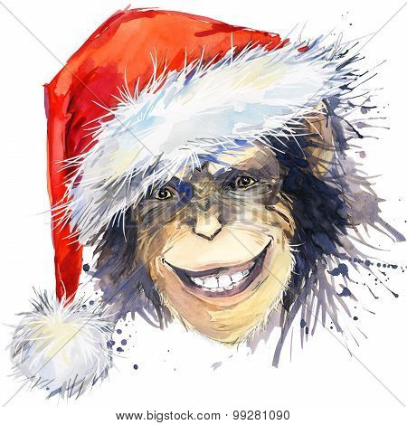 Monkey Santa Claus T-shirt graphics. monkey year illustration with splash watercolor textured backgr