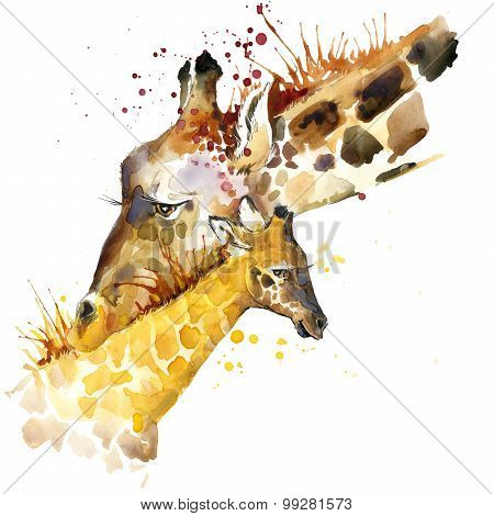 Giraffe T-shirt graphics. giraffe family illustration with splash watercolor textured background. un