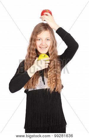 Girl Holding Fresh Apple