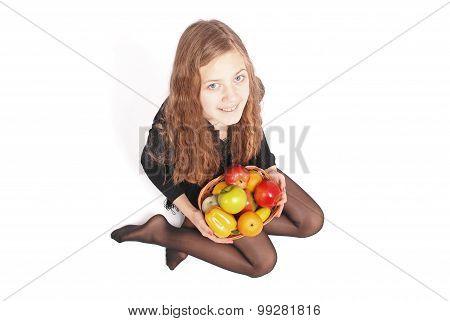 Girl Holding Fresh Fruits