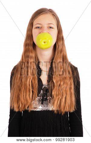 Girl Holding Fresh Apple