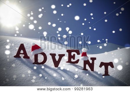 Advent Mean Christmas Time Snowflake Santa Hat Sky