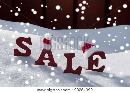 Christmas Sale On Snow Santa Hat And Snowflakes