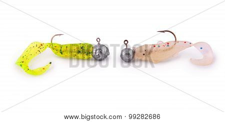 Silicon Fishing Baits (twisters) With Hooks (clipping Path)