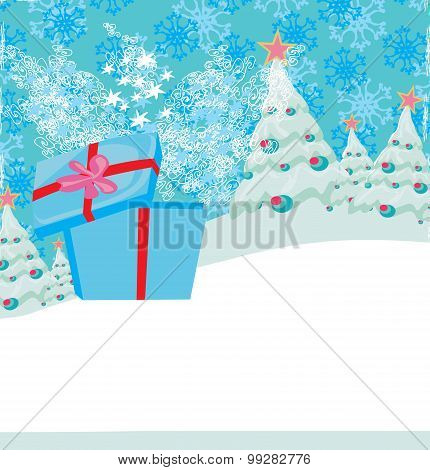 Abstract Christmas Card With A Surprise Gift And Winter Landscape