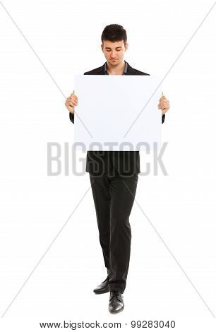 Young Businessman Holding Blank Board