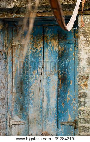 Blue Door With Old Paint