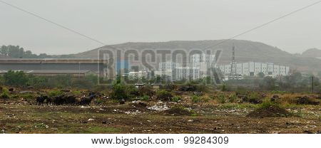 Polluted Landscape And Rain