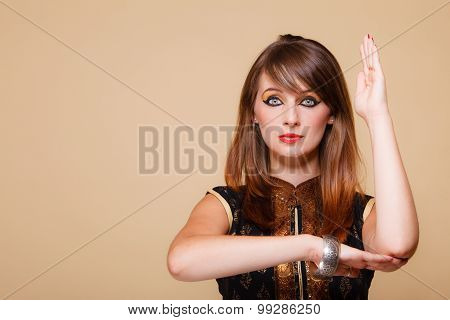 Orient Girl With Makeup Hand Gesture