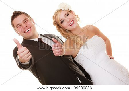 Wedding Day. Portrait Happy Couple Bride And Groom