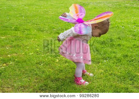 Cute Toddler With Butterfly Wings
