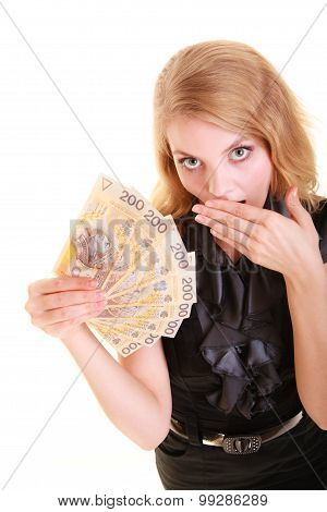 Surprised Woman Holds Polish Currency Money Banknote.