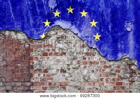 European Flag On Grungy Wall