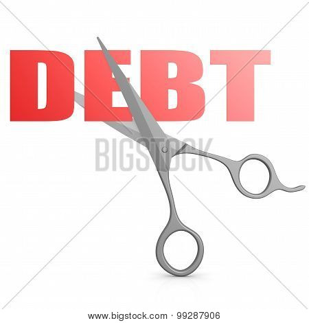 Cut Red Debt Word With Scissor