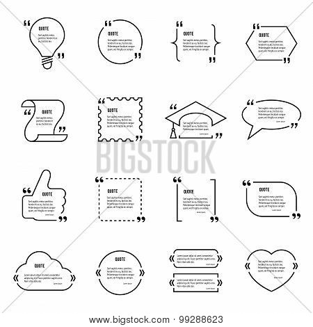 Quote blank vector template set.