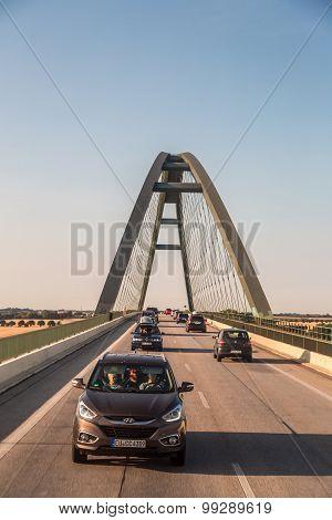 Traffic On The  Bridge In Denmark