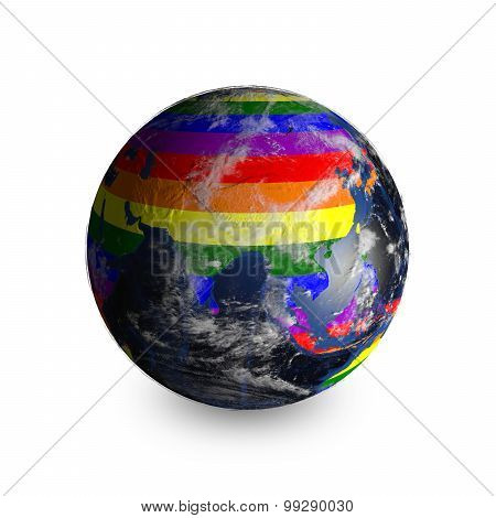 Earth On White Background. Continents Colored In Lgbt Colors.