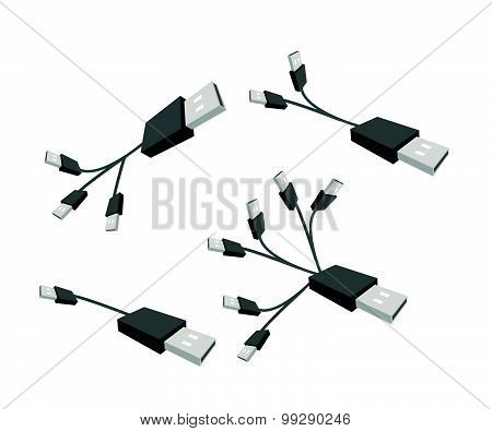 Black Usb Cable On A White Background