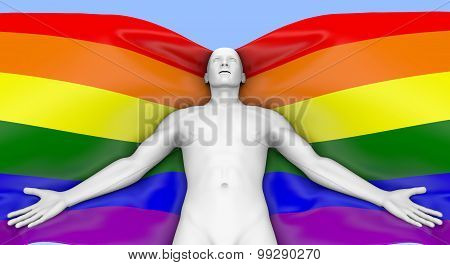 Lgbt Flag In The Wind Waving Around Man