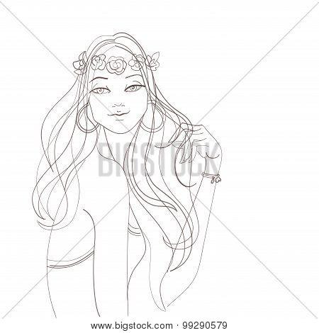 Flower power bohemian hippie chic girl