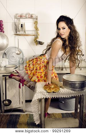 crazy real woman housewife on kitchen, eating