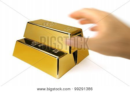 Gold bars and Financial concept, studio shots