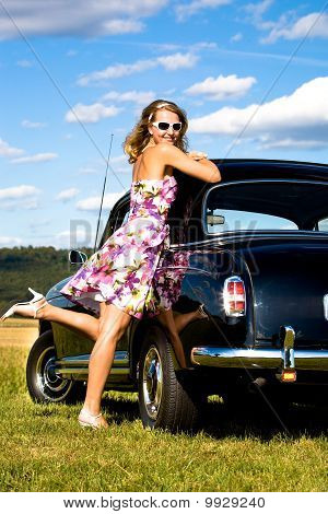 Girl And A Vintage Car