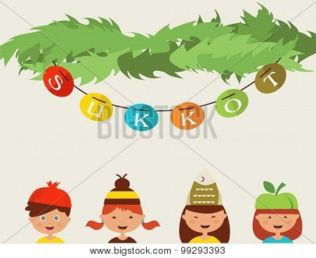 happy sukkot. kids with costume hats in traditional sukkah
