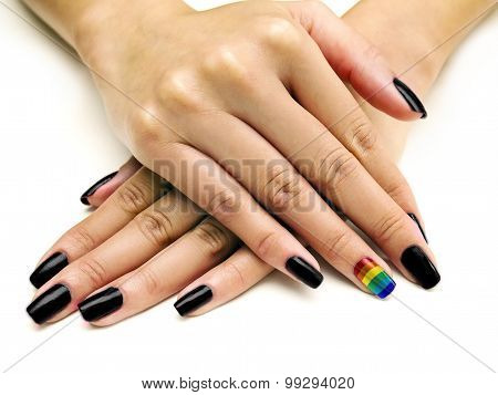 Gay Pride Rainbow on Nails