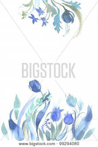 Watercolor blue sketch