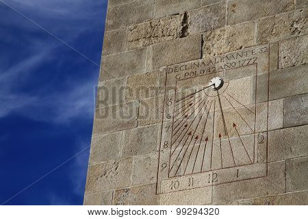 Sundial In Montjuic Castle, Barcelona, Catalonia, Spain