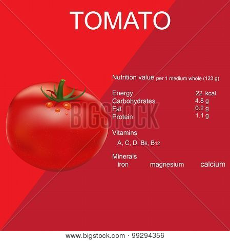 tomato, nutrition facts, vector illustration in flat design for web sites