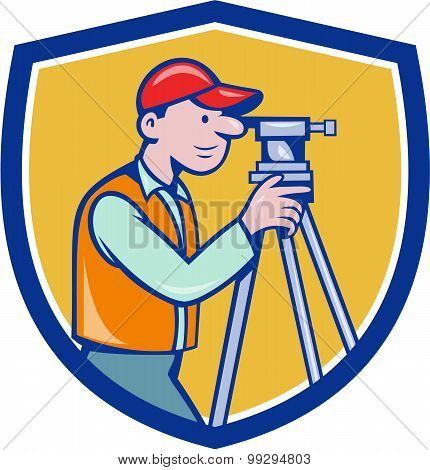 Surveyor Geodetic Engineer Theodolite Shield Cartoon