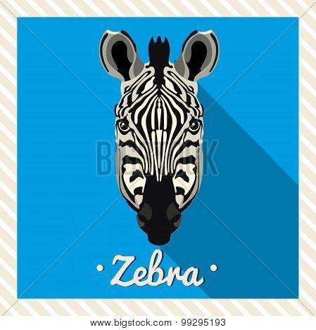 Vector portrait of a zebra. Symmetrical portraits of animals. Vector Illustration, greeting card.