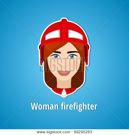 Vector illustration of a girl firefighter. Woman firefighter. Icon. Flat icon.