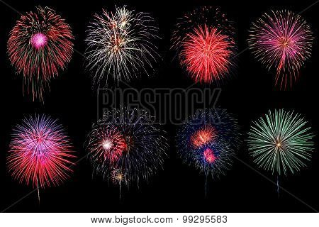 Brightly Colorful Fireworks In Night Sky