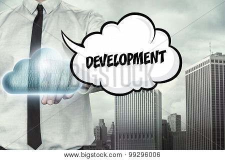 Development text on cloud computing theme with businessman