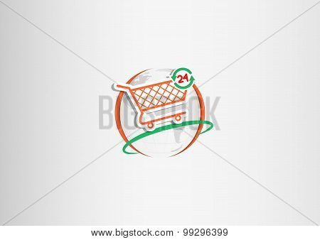 Logo 24 H On Shopping Cart