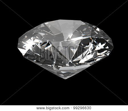 Diamond On Black Background With Clipping Path