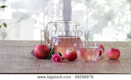 Apple Compote And A Transparent Jug And Fresh Apples