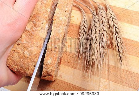 Hand Of Woman Slicing Fresh Bread, Ears Of Wheat