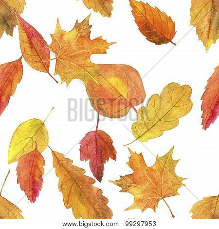 seamless pattern with autumn leaves in watercolor