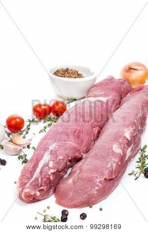 Uncooked Raw Meat Fillet With Spices